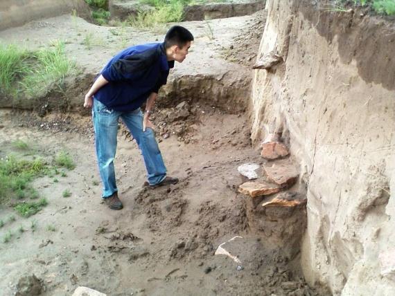 Анибат, разглядывающий раскопки