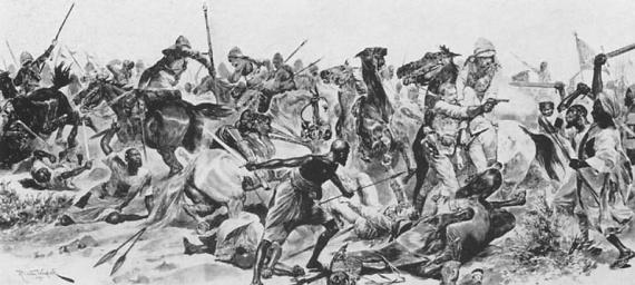 Пехота дервишей (арабов) мужественно встретила атаку английских улан, не отступив ни на шаг