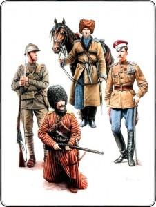 Стоят: воин Дикой дивизии с конем, латышский стрелок - с винтовкой, польский улан - с саблей. Сидит с винтовкой боец туркменского дивизиона