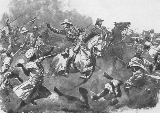 Суданцы метали копья, подсекали ими ноги лошадей, рубили кавалеристов мечами